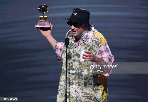 Bad Bunny accepts the award for Best Urban album onstage during the 20th annual Latin GRAMMY Awards at MGM Grand Garden Arena on November 14 2019 in...