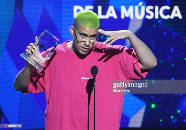 Bad Bunny accepts the Social Artist of the Year award during the 2019 Billboard Latin Music Awards at the Mandalay Bay Events Center on April 25 2019...
