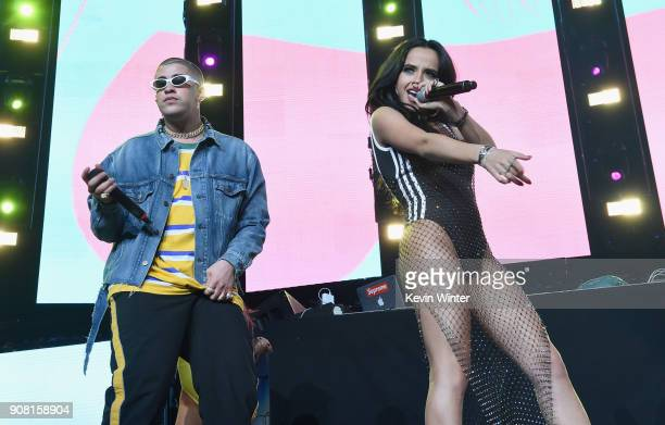 Bad Bunny and Becky G perform onstage during Calibash Los Angeles 2018 at Staples Center on January 20 2018 in Los Angeles California