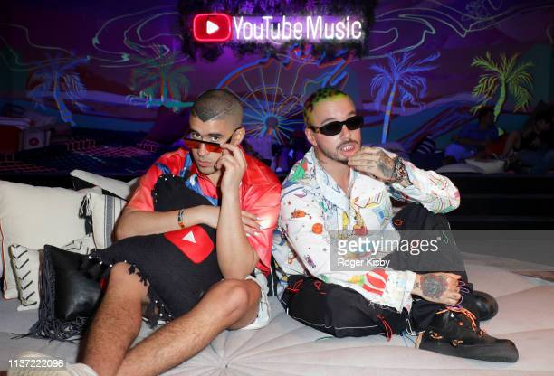 Bad Bunny and J Balvin are seen at the YouTube Music Artist Lounge at Coachella 2019 on April 14 2019 in Indio California