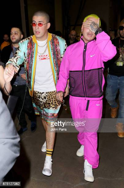 Bad Bunny and J Balvin attend The 18th Annual Latin Grammy Awards at MGM Grand Garden Arena on November 16 2017 in Las Vegas Nevada