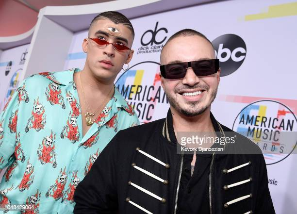 Bad Bunny and J Balvin attends the 2018 American Music Awards at Microsoft Theater on October 9 2018 in Los Angeles California