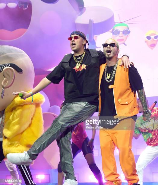 Bad Bunny and J Balvin perform at Coachella Stage during the 2019 Coachella Valley Music And Arts Festival on April 20 2019 in Indio California