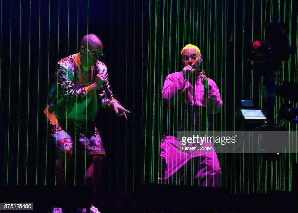 Bad Bunny and J Balvin perform onstage during The 18th Annual Latin Grammy Awards at MGM Grand Garden Arena on November 16 2017 in Las Vegas Nevada