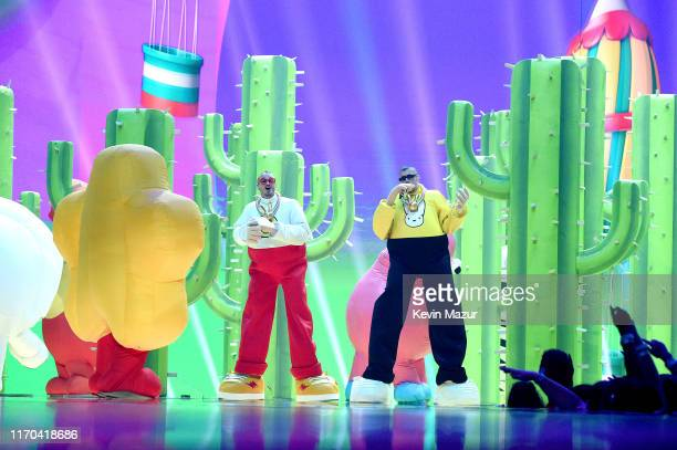 Bad Bunny and J Balvin perform onstage during the 2019 MTV Video Music Awards at Prudential Center on August 26 2019 in Newark New Jersey