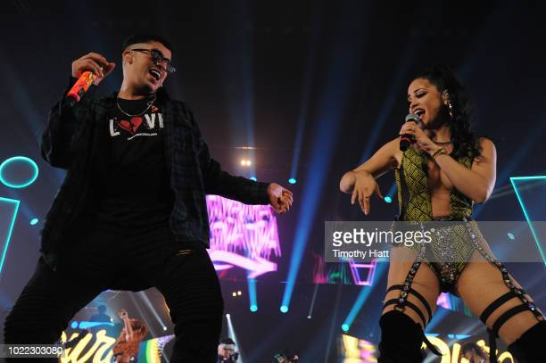 Bad Bunny and Natti Natasha perform onstage as Spotify Kicks Off ¡Viva Latino Live Concert Series in Chicago with Daddy Yankee Becky G and Jowell...