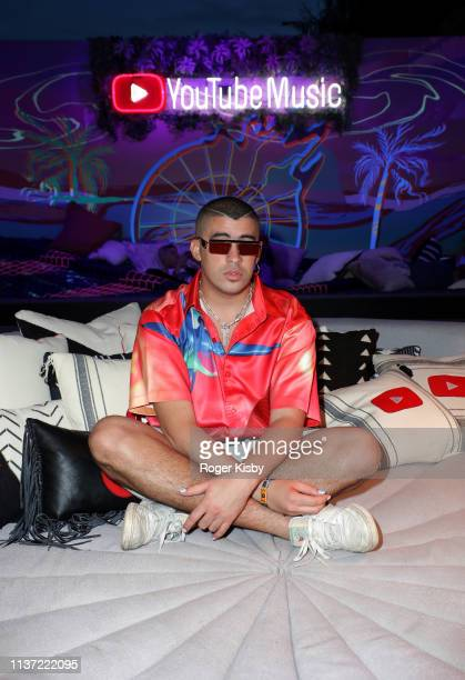 Bad Bunny is seen at the YouTube Music Artist Lounge at Coachella 2019 on April 14 2019 in Indio California
