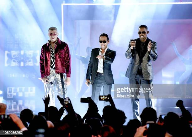 Bad Bunny Marc Anthony and Will Smith perform onstage during the 19th annual Latin GRAMMY Awards at MGM Grand Garden Arena on November 15 2018 in Las...