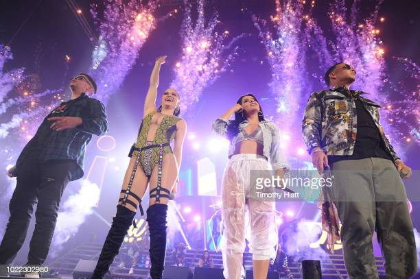 Bad Bunny Natti Natasha Becky G and Daddy Yankee perform onstage as Spotify Kicks Off ¡Viva Latino Live Concert Series in Chicago with at Allstate...