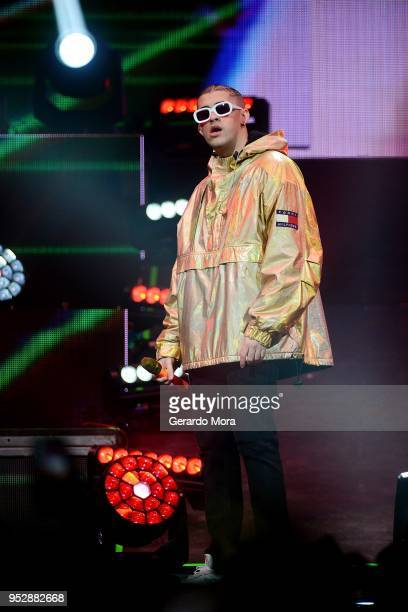 Bad Bunny performs at Amway Center on April 29 2018 in Orlando Florida