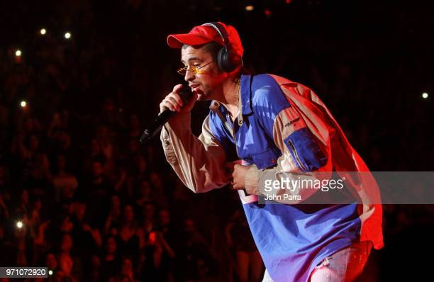 Bad Bunny performs at Mix Live Presented by Uforia at American Airlines Arena on June 9 2018 in Miami Florida