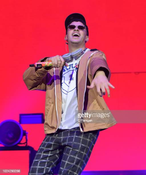 Bad Bunny performs during the 'La Nueva Religion' tour at the ORACLE Arena on August 26 2018 in Oakland California