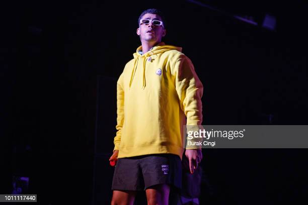 Bad Bunny performs live on stage at O2 Forum Kentish Town on August 4 2018 in London England