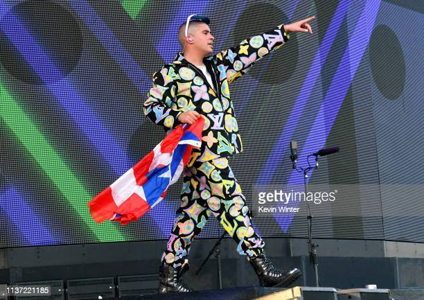 Bad Bunny performs on Coachella Stage during the 2019 Coachella Valley Music And Arts Festival on April 14 2019 in Indio California