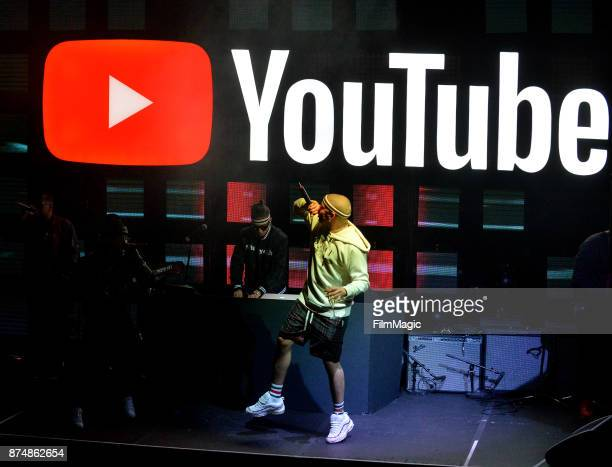 Bad Bunny performs onstage at YouTube Musica sin fronteras A Celebration of Latin Music at Jewel Nightclub at the Aria Resort Casino on November 15...