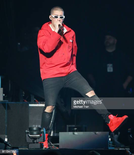 Bad Bunny performs onstage during Calibash Las Vegas at TMobile Arena on January 27 2018 in Las Vegas Nevada