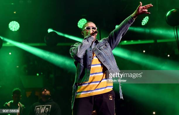 Bad Bunny performs onstage during Calibash Los Angeles 2018 at Staples Center on January 20 2018 in Los Angeles California