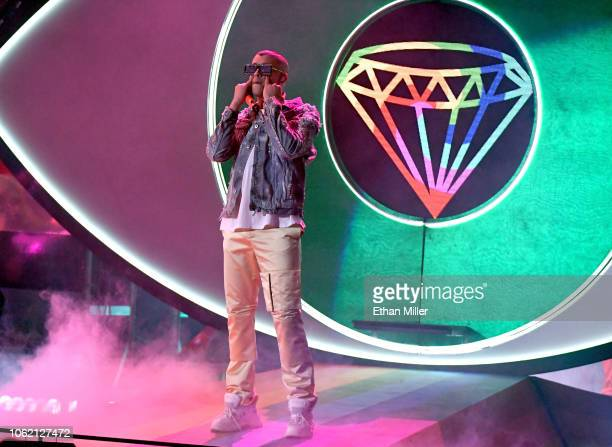 Bad Bunny performs onstage during the 19th annual Latin GRAMMY Awards at MGM Grand Garden Arena on November 15 2018 in Las Vegas Nevada