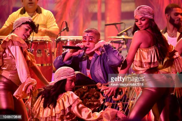 Bad Bunny performs onstage during the 2018 American Music Awards at Microsoft Theater on October 9 2018 in Los Angeles California