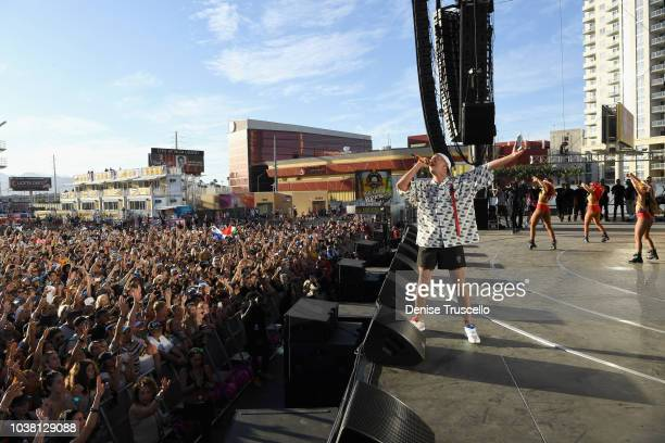 Bad Bunny performs onstage during the 2018 iHeartRadio Music Festival Daytime Stage at the Las Vegas Festival Grounds on September 22 2018 in Las...