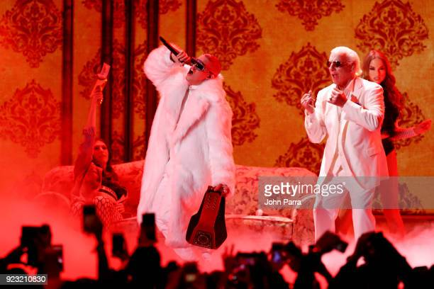 Bad Bunny performs onstage during Univision's 30th Edition Of 'Premio Lo Nuestro A La Musica Latina' at American Airlines Arena on February 22 2018...