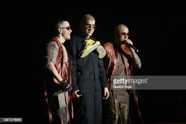 Bad Bunny performs with Wisin Yandel as part of the concert Como Antes Tour at Coliseo Jose M Agrelot on November 30 2018 in San Juan Puerto Rico