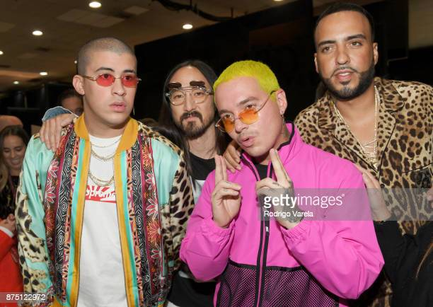 Bad Bunny Steve Aoki J Balvin and French Montana attend The 18th Annual Latin Grammy Awards at MGM Grand Garden Arena on November 16 2017 in Las...