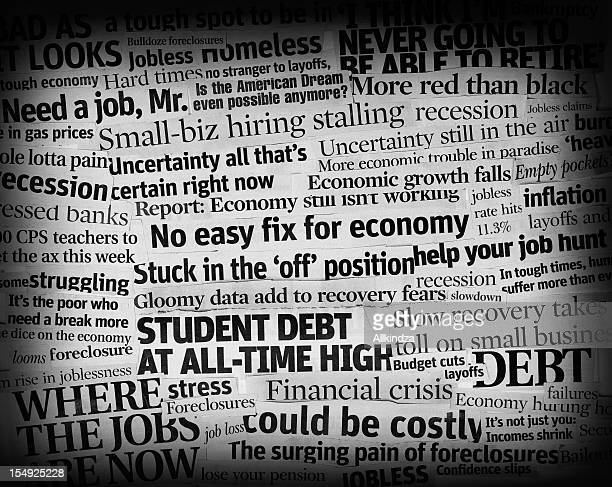 bad economic headlines 2011 collage - front page stock photos and pictures