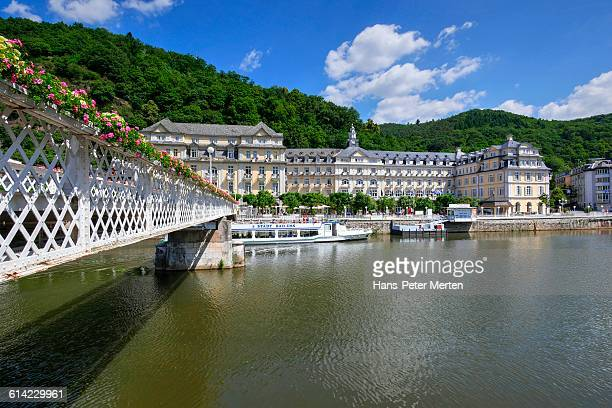 bad ems, kurhaus and lahn river - kurhaus baden baden stock-fotos und bilder