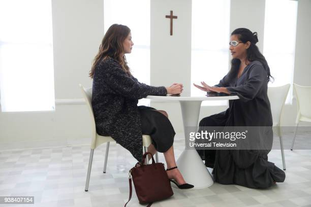 THE PATH Bad Faith Episode 311 Pictured Michelle Monaghan as Sarah Lane Sarita Choudhry as Lilith