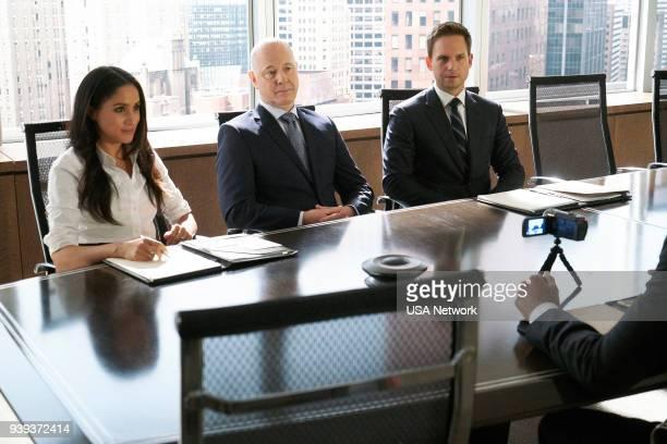 "Bad Man"" Episode 712 -- Pictured: Meghan Markle as Rachel Zane, Ray Proscia as Dr. Lipschitz, Patrick J. Adams as Mike Ross --"