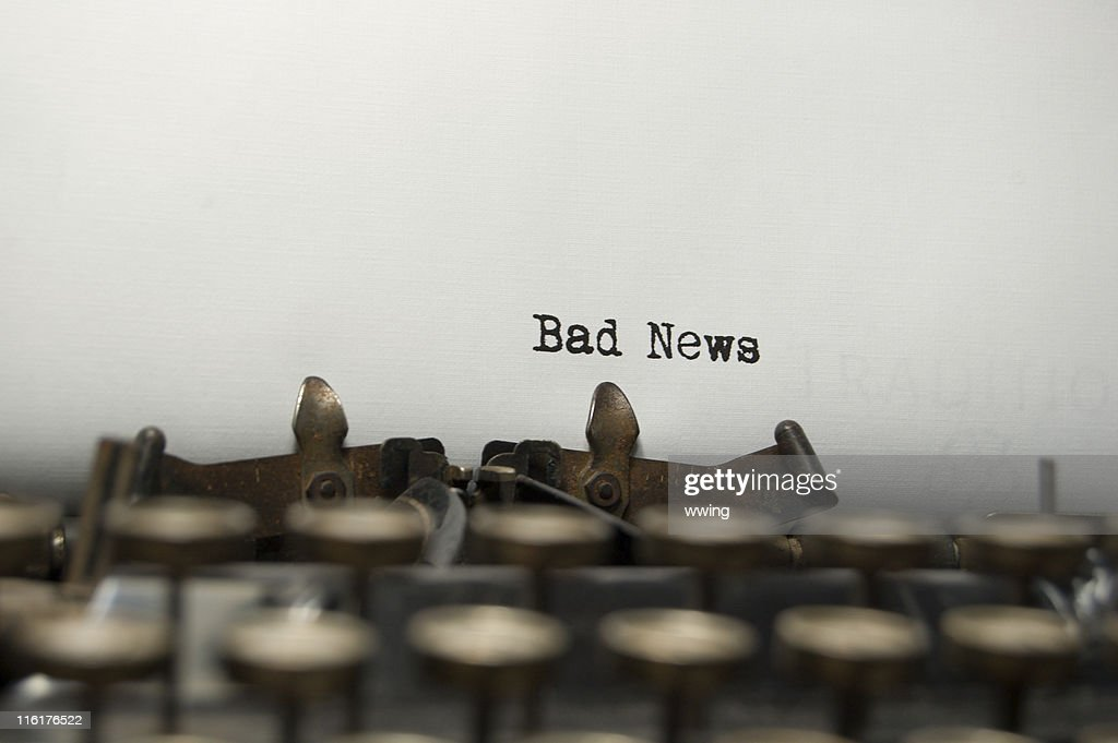 Bad News definition on an old typewriter : Stock Photo
