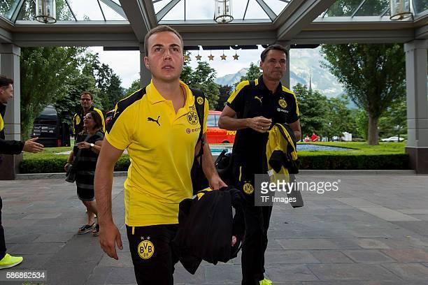 Bad Ragaz, Schweiz , Trainingslager BV Borussia Dortmund, BVB, ankunft der Mannschaft, Mario Goetze