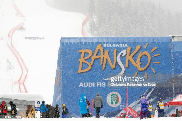Bad weather cancels the race during the Audi FIS Alpine Ski World Cup Men's Super G on February 23 2019 in Bansko Bulgaria