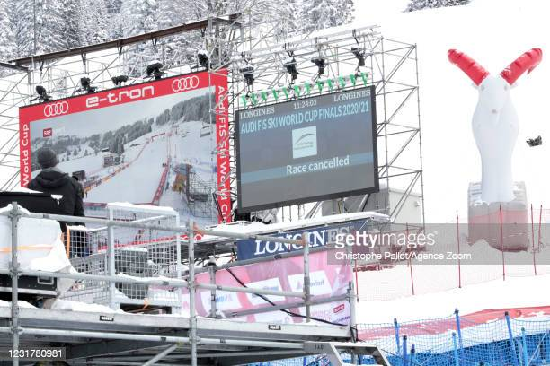 Bad weather cancels the race during the Audi FIS Alpine Ski World Cup Women's Super Giant Slalom on March 18, 2021 in Lenzerheide, Switzerland.