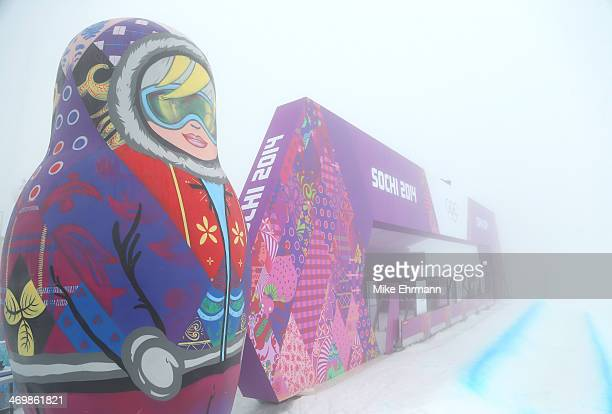 Bad weather conditions delay the start of the Men's Snowboard Cross competition on day ten of the Sochi 2014 Winter Olympics at Rosa Khutor Extreme...