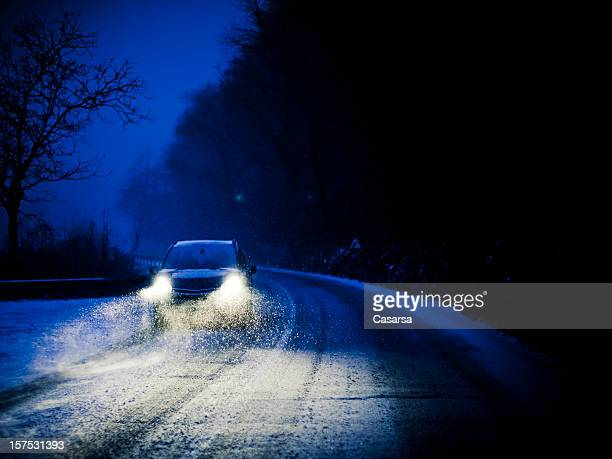 bad weather - driving in snow stock photos and pictures