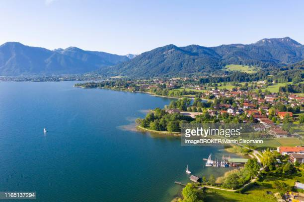 bad wiessee at lake tegernsee with mangfall mountains, drone shot, upper bavaria, bavaria, germany - tegernsee stock pictures, royalty-free photos & images
