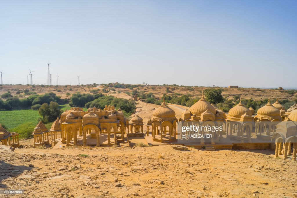 Bada Bagh Cenotaphs and Wind Farm | Jaisalmer | Rajasthan | India : Stock Photo