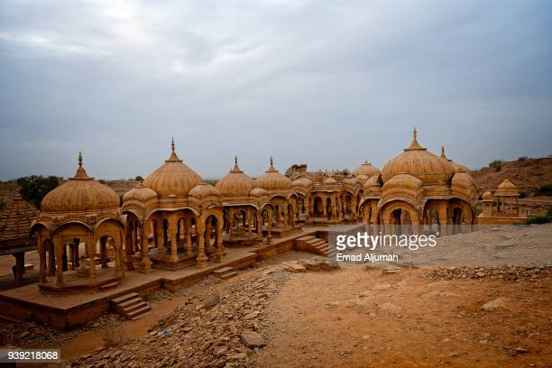bada bagh, jaisalmer, rajasthan, india - jain temple stock photos and pictures