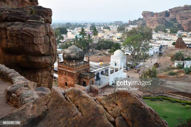 Badami Cave Temples. The Badami Cave Temples are composed of four rock-cut caves built during the 6th century on January 10, 2018 in Hampi, India.