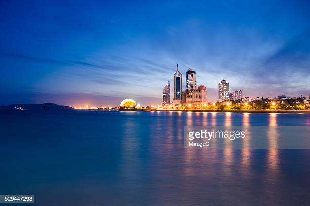 badaxia area night scene of qingdao - miragec stock pictures, royalty-free photos & images
