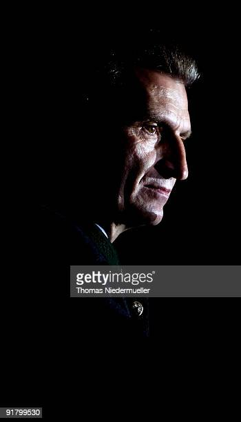 Baden Wuerttemberg governor Guenther Oettinger talks during the celebration of the 60th birthday of Roland Mack at Europapark on October 12 2009 in...
