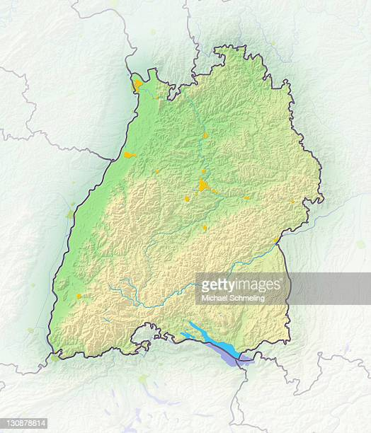 Baden-Wuerttemberg, Germany, shaded relief map
