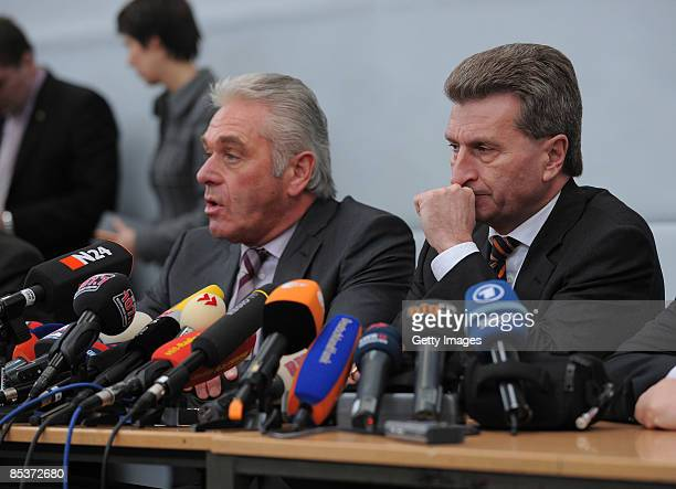 BadenWuerttemberg governor Guenther Oettinger and Interiour Minister of BadenWuerttemberg Heribert Rech are seen during a press conference at the...