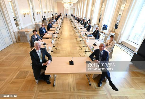 Baden-Wuerttemberg's State Premier Winfried Kretschmann , Baden-Wuerttemberg's Interior Minister Thomas Strobl and ministers have taken seat for...