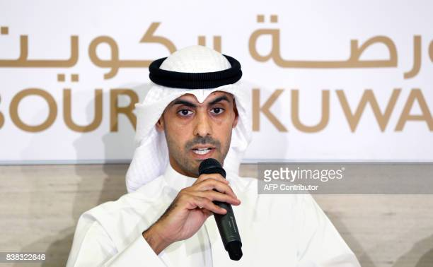 Bader AlKharafi vicechairman and Group CEO of Zain Group speaks during a press conference at the Boursa Kuwait headquarters in Kuwait City on August...