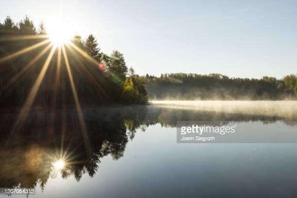 badesee am morgen - lake stock-fotos und bilder