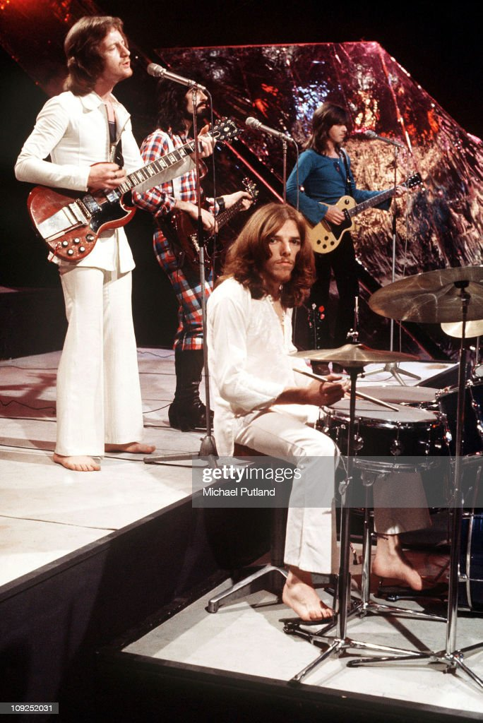 Badfinger perform on Top Of The Pops, 1973, L-R Pete Ham, Tommy Evans, Mike Gibbons, Joey Molland.