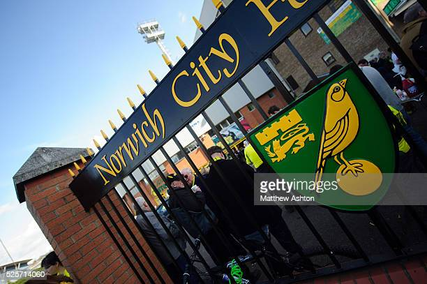 Badge / logo / crest on the gates outside Carrow Road the home stadium of Norwich City